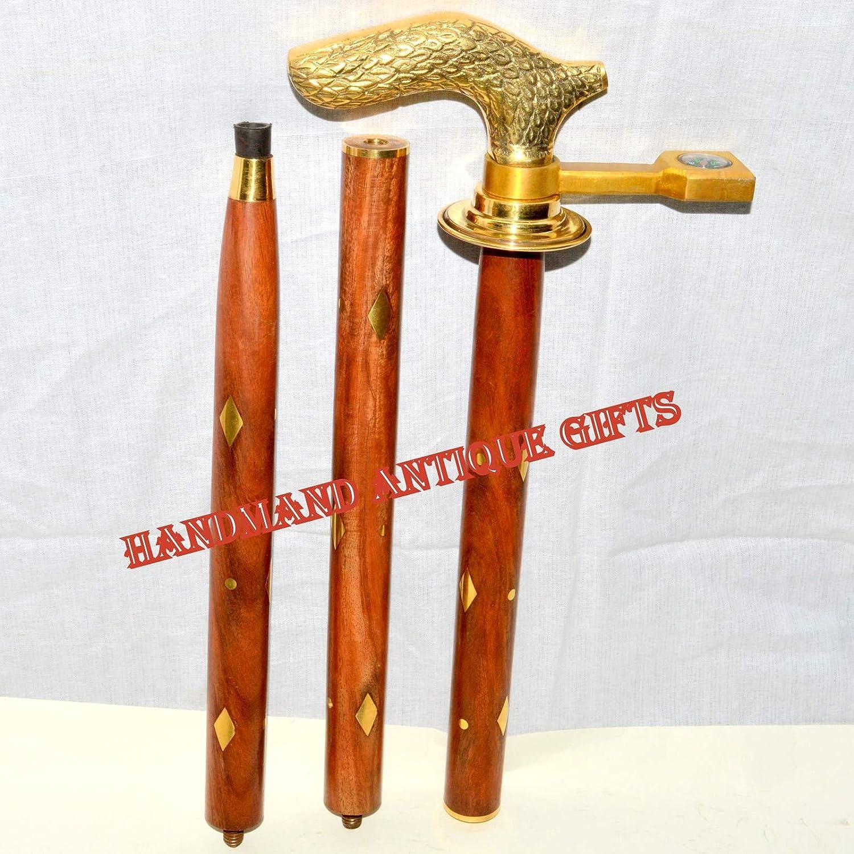 ビンテージアンティークスタイルゴールド真鍮、天然木Victorian Walking Stick Cane B01N0IFBM3