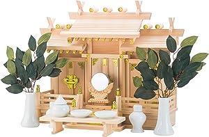 Shizuoka Wood Work Shinto Shrine Shelf, Roof Difference Three shrines Nagomi (Small) Shrine Shelf Set