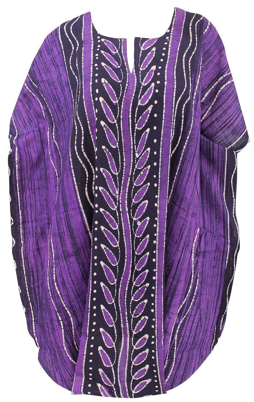 La Leela reiner Baumwolle Kimono Strand Tunika Sommerkleid kurzen Nacht Kaftan violett