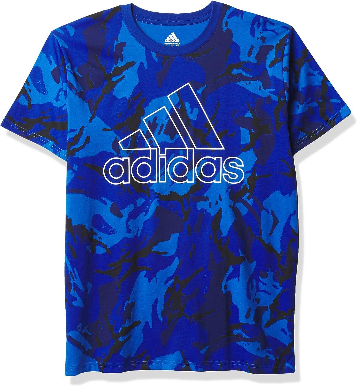 adidas Boys' Short Sleeve Cotton Jersey Logo T-Shirt