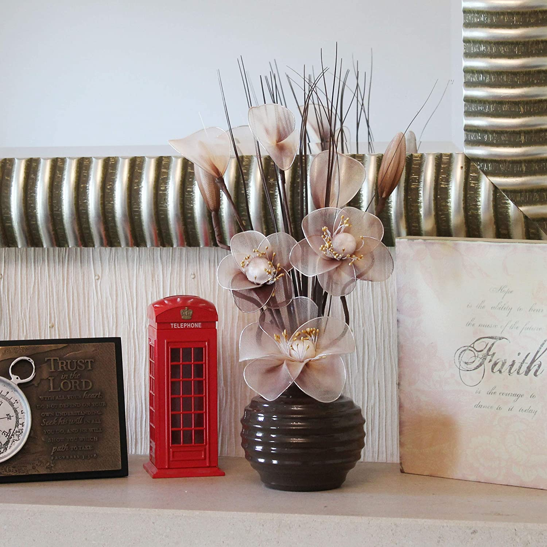 Flourish Fleurs artificielles en soie avec vase ovale pourpre  75cm