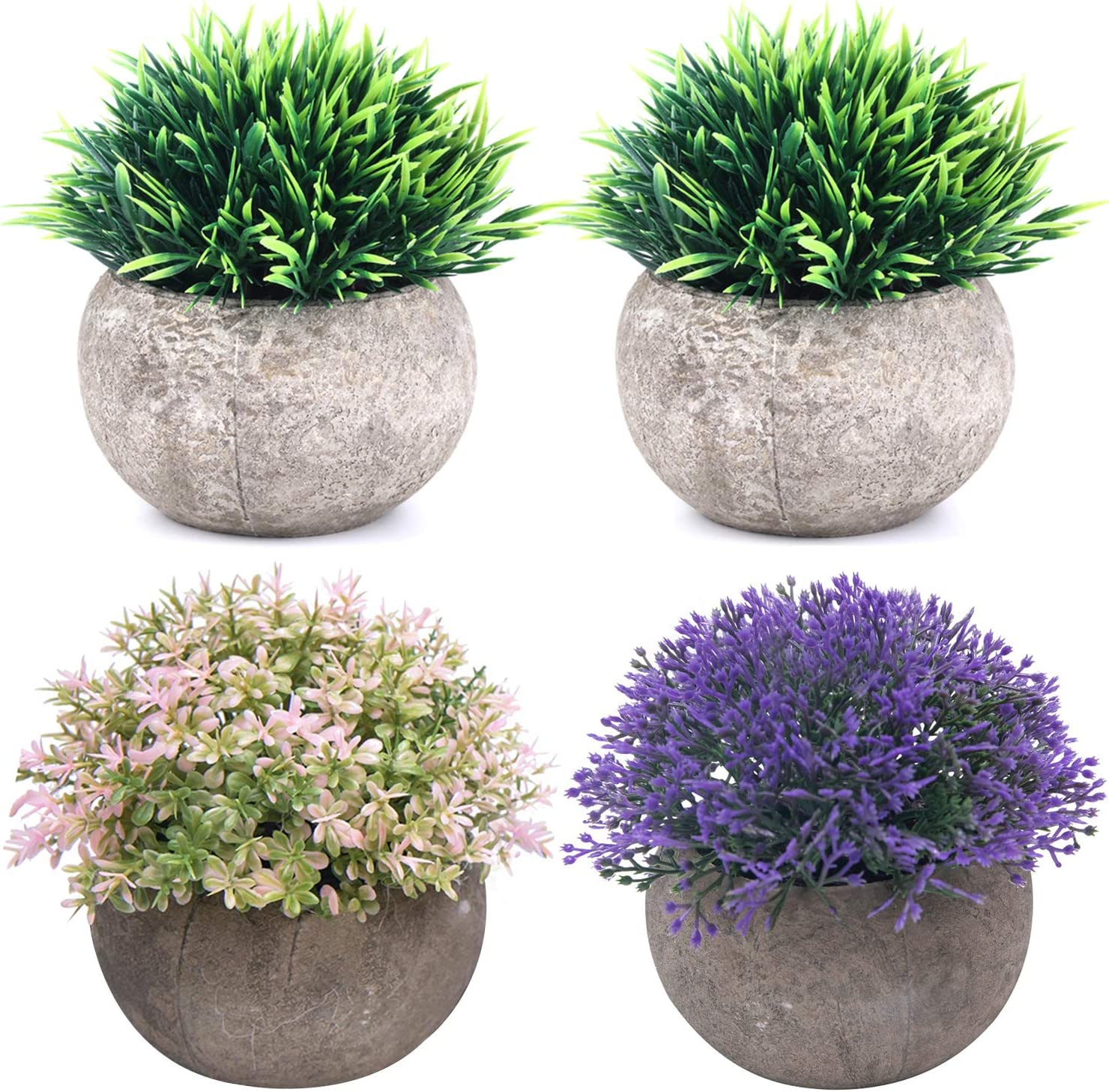 THE BLOOM TIMES 4 Pcs Small Fake Plants for Bathroom/Home Office Decor, Artificial Plants Faux Greenery for House Decorations (Potted Plants)