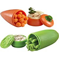 """Hutzler 39192 Carrot & Dip and Celery & Dip To-Go Snack Container Set Orange/Green 2.6"""" x 7"""""""