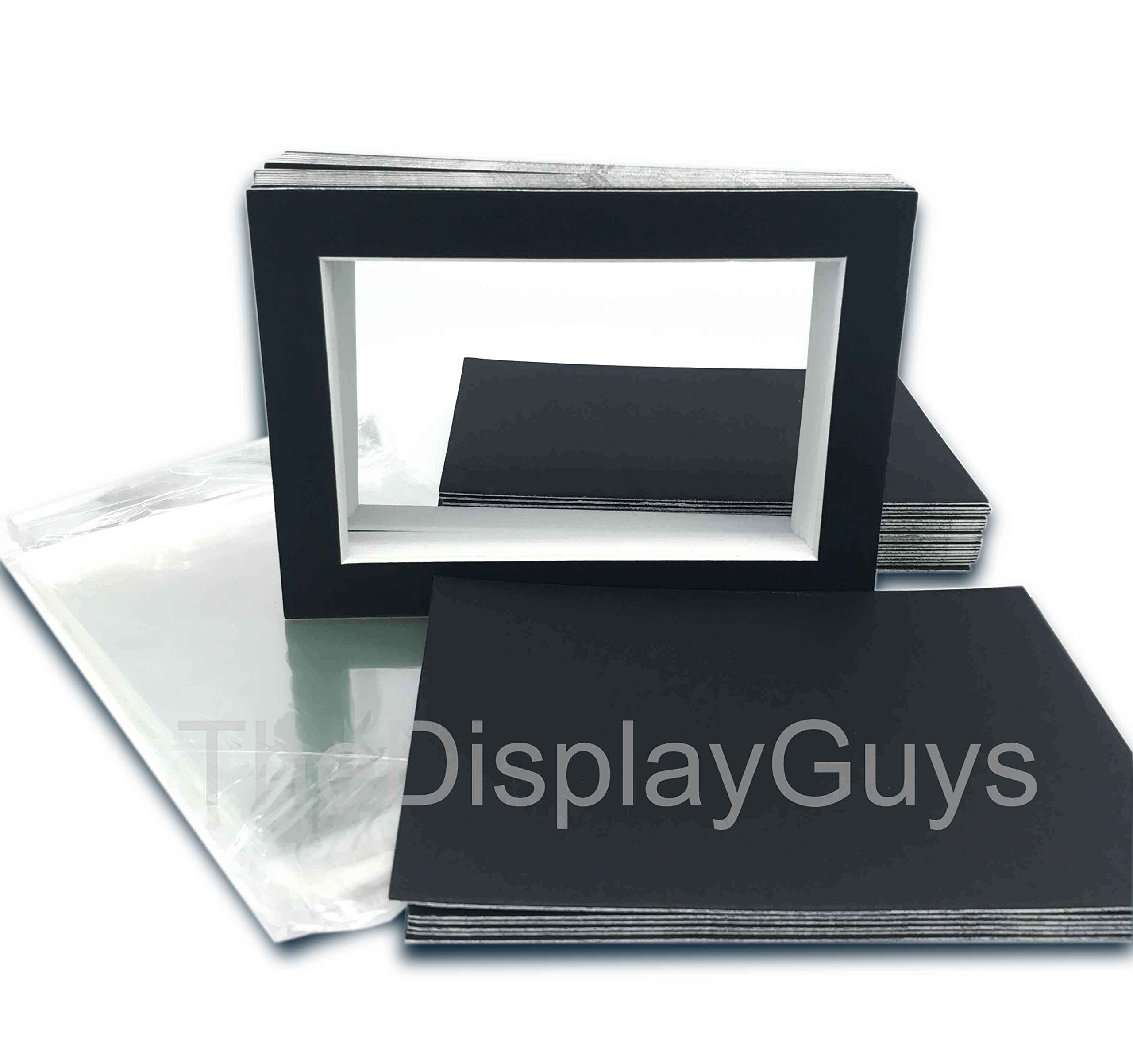 The Display Guys, 25 sets 11x14 inches Black Picture Photo Matting Mats Boards (White Core Bevel Cut) + Black Back Boards + Clear Plastic Bags (25 pcs black complete set) by The Display Guys