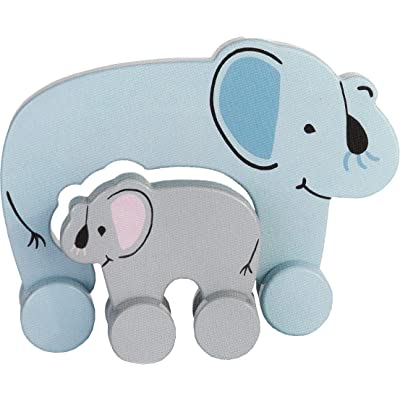 Jack Rabbit Creations Wooden Push Toy Mommy & Baby Elephant: Toys & Games