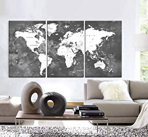 "Original by BoxColors LARGE 30""x 60"" 3 Panels 30""x20"" Ea Art Canvas Print Watercolor Map World countries cities Push Pin Travel Wall Black White Gray decor Home interior (framed 1.5"" depth)"