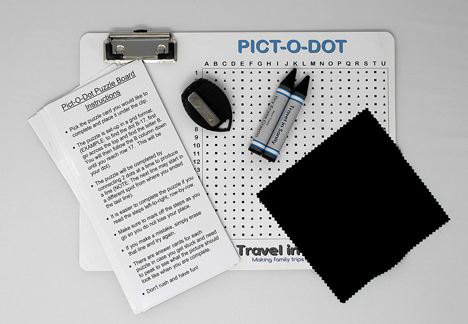 Write-on // Wipe-Off Board with Dry-Erase Crayons and Sharpener Connect The Dots Lap Board Dot-2-Dot with a Twist Quiet Activity Travel Game Pict-O-Dot Puzzle Board with Clip