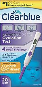Clearblue Advanced Digital Ovulation Test, Predictor Kit, Featuring Advanced Ovulation Tests with Digital Results, 20 Ovulation Tests