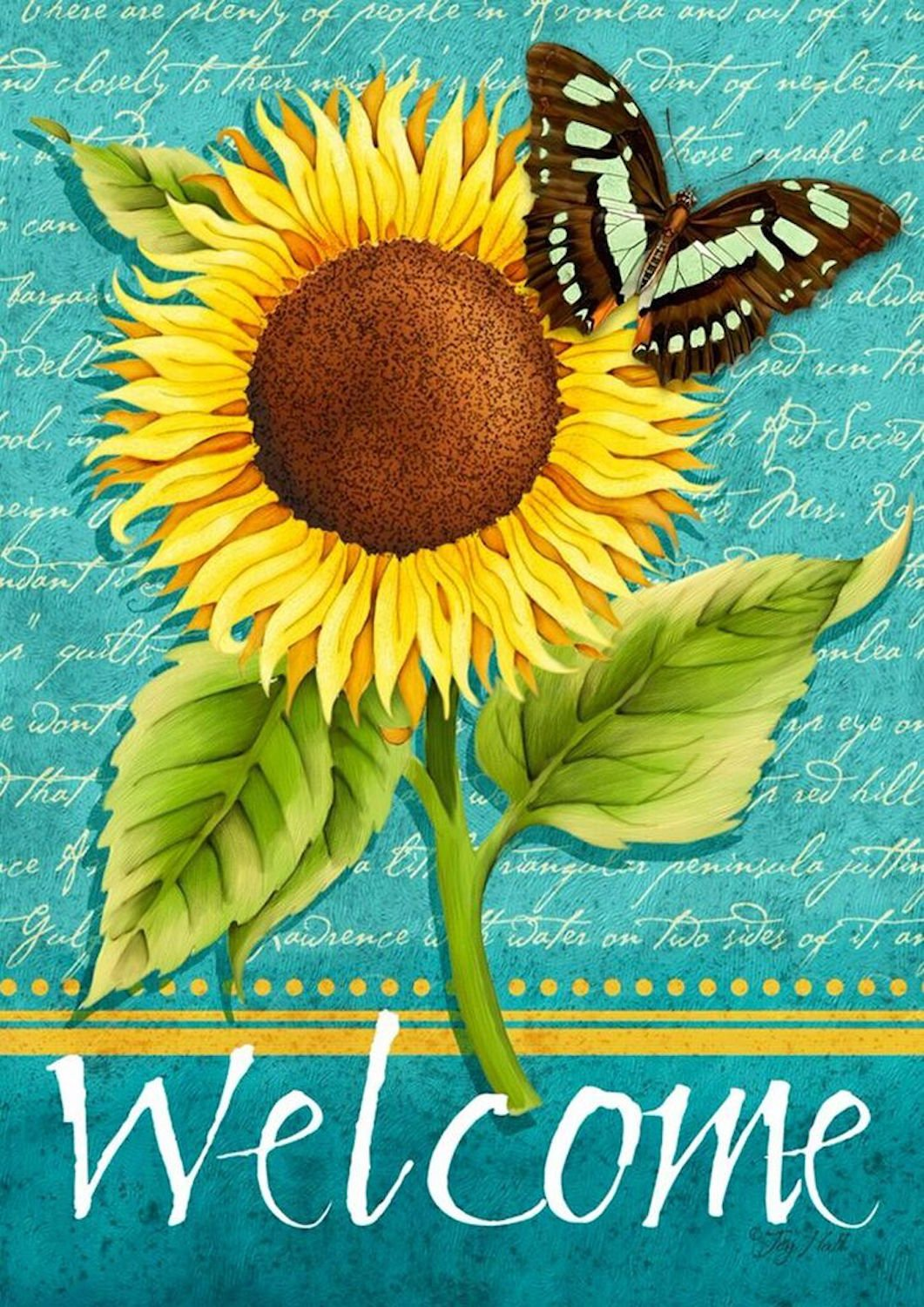 Sunflower Welcome Summer Garden Flag Butterfly Floral 12.5 x 18 Briarwood Lane