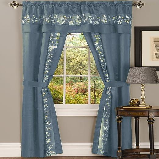 5-Piece Light Blue Light Filtering Semi-Sheer Window Curtain Full Window Set