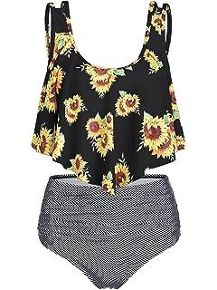 d9a584e1458 CHARMMA Rosegal Women's High Waist Sunflower Striped Ruched Two Piece Tankini  Bikini Set