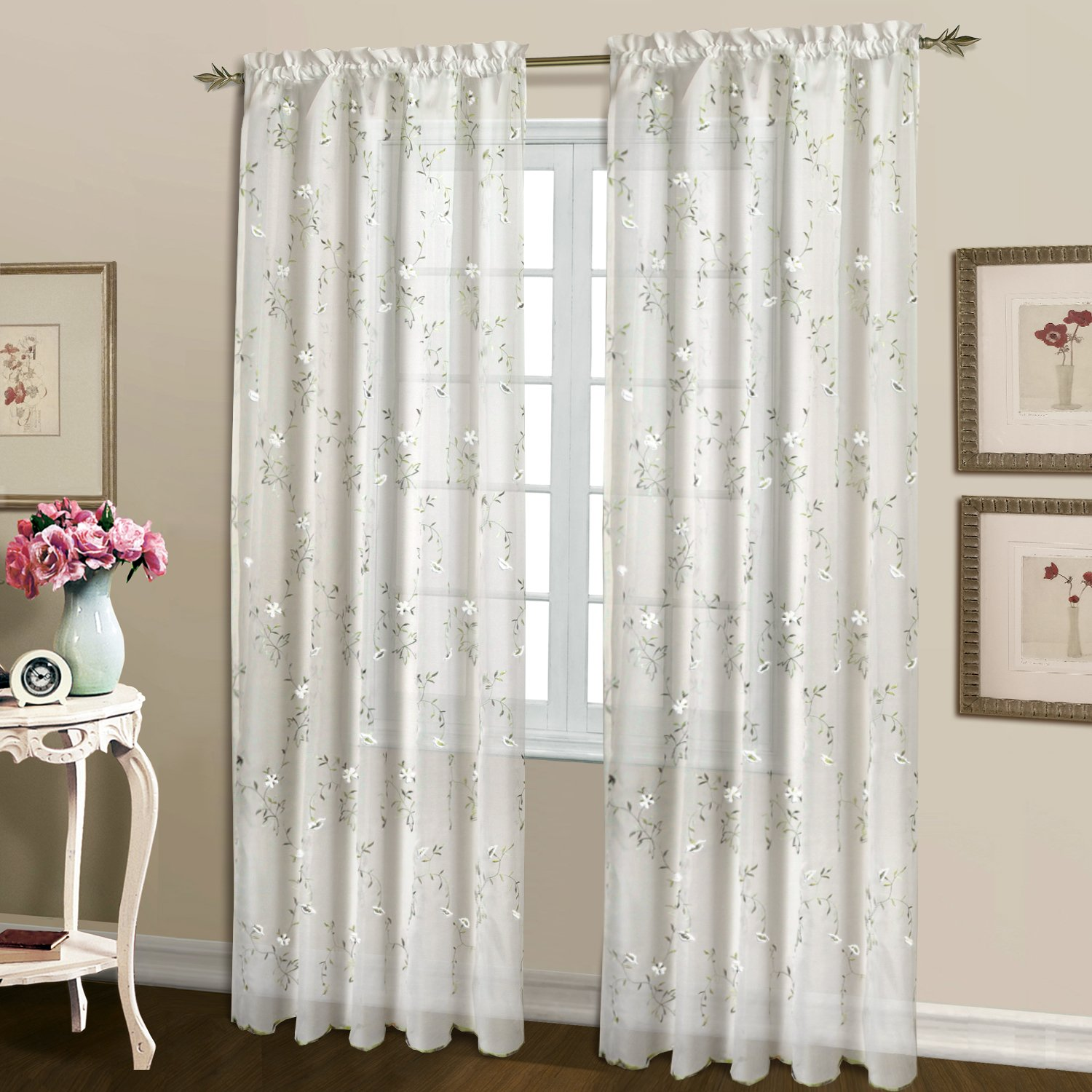 United Curtain Loretta Embroidered Sheer Shaped Valance, 52 by 18-Inch, White LOVAWH