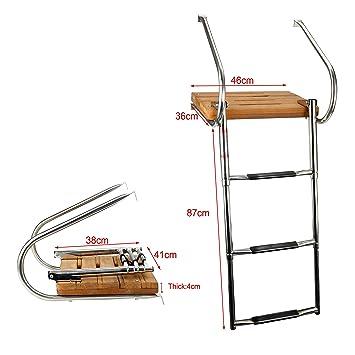 Amarine-made – Escalera para Barco Teca Plataforma con 3-Steps ...
