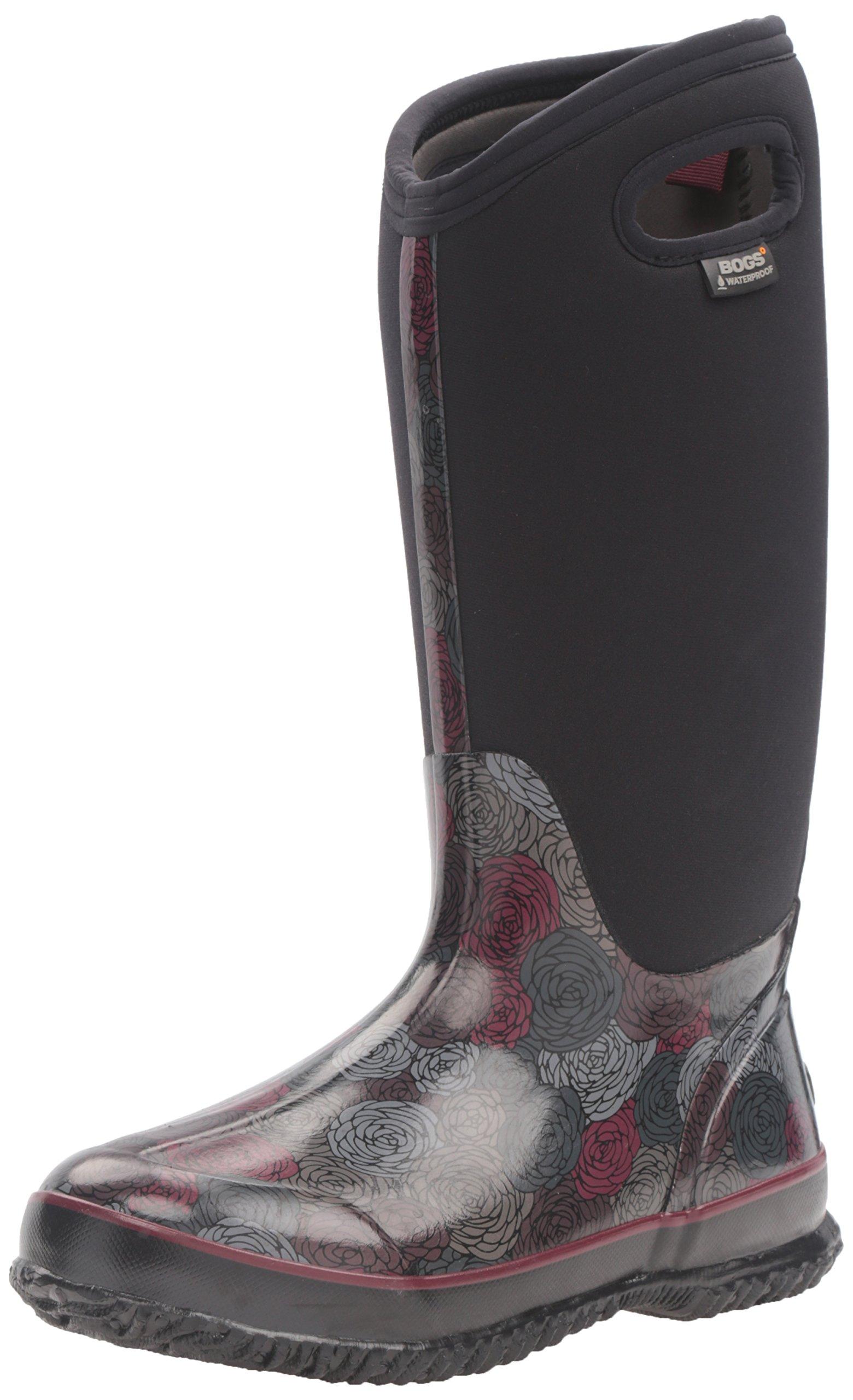 Bogs Women's Classic Rosey Tall Snow Boot, Black/Multi, 6 M US