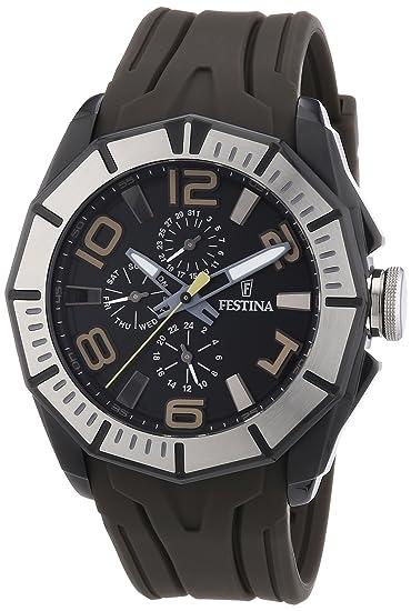 Festina F16670/2 - Reloj analógico de cuarzo para hombre con correa de caucho, color marrón: Amazon.es: Relojes