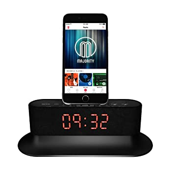 cheap for discount 15690 57476 Mercury Speaker Docking Station Alarm Clock FM Radio Lightning Dock for  iPhone 5 5S 5C 6 6+ 6S 7 7+ iPod (Black)