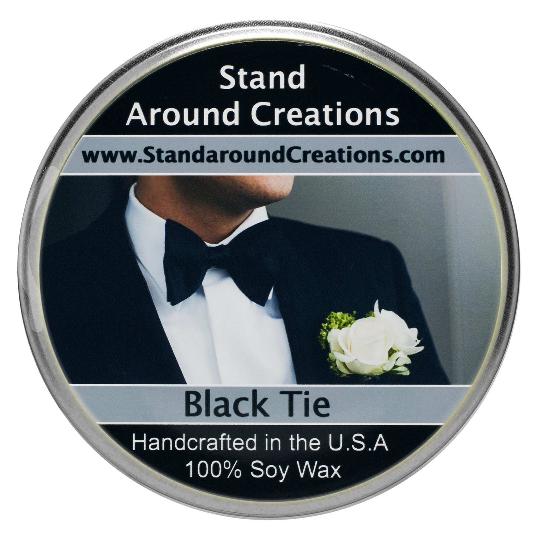 Premium 100% Soy Tureen Candle - 8 oz. - Black Tie: Sophisticated notes of leather w/ warm woods, patchouli, musk.