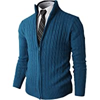 H2H Mens Slim Fit Cardigan Sweaters Long Sleeve Zip-up Knitted with Twist Patterned