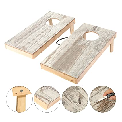 OOFIT Solid Wood Cornhole Set Junior Size, Portable Sports Cornhole Game  Boards Set 2 X
