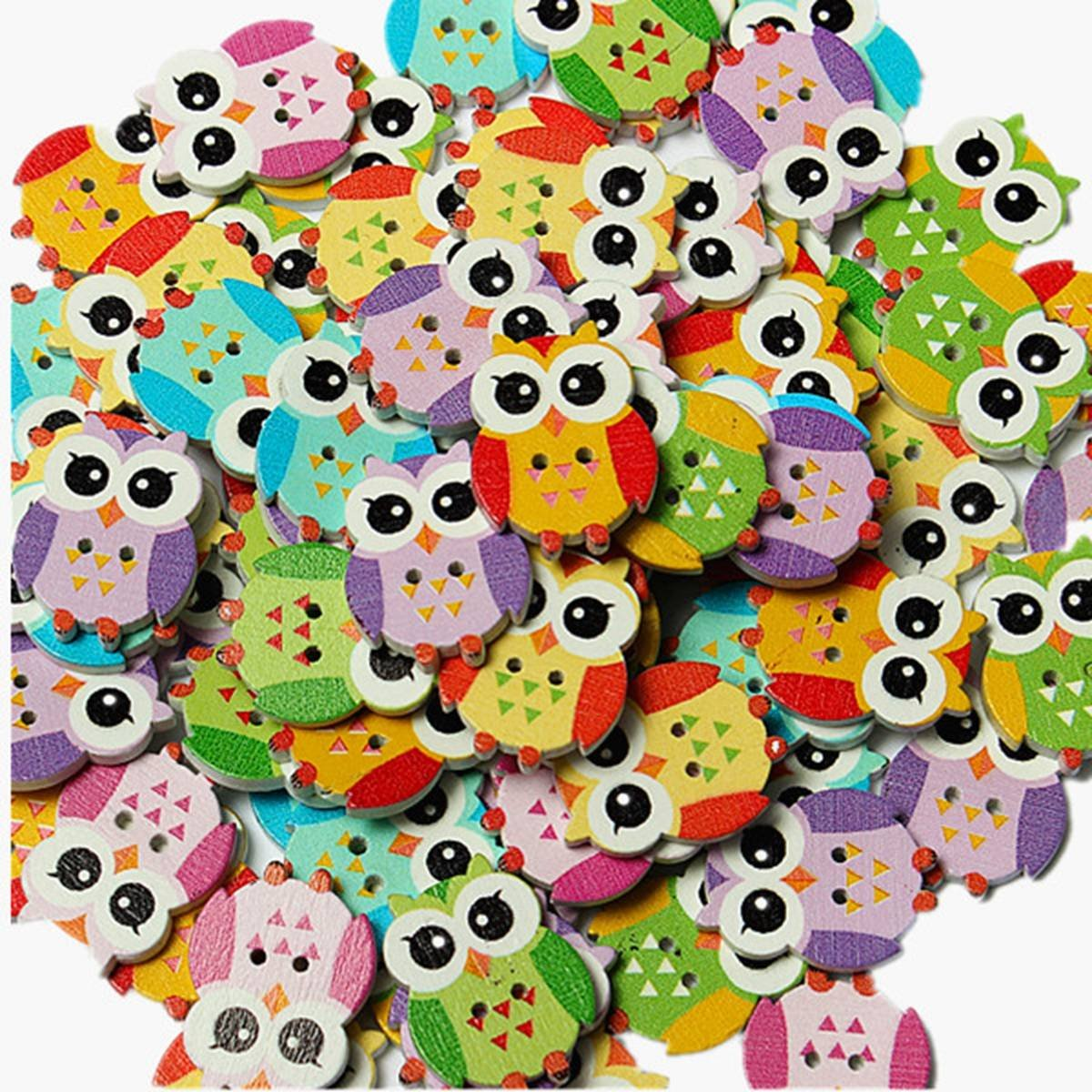 KINGSO 100Pcs Lovely Owl Animal Wooden Button Sewing Scrapbooking DIY Craft 2 Holes Mixed Color by King So KINGSO Co. LTD
