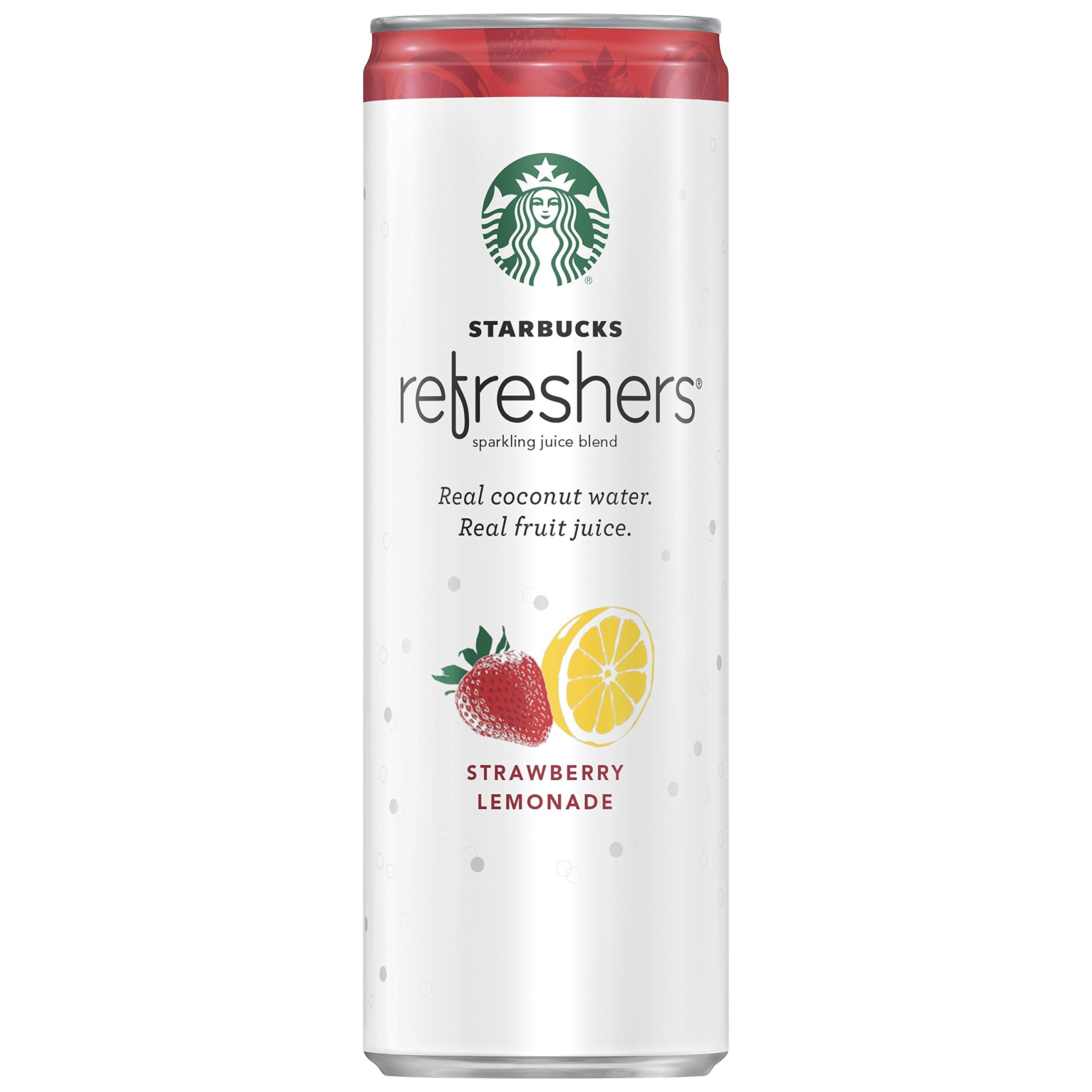 Starbucks Refreshers, Strawberry Lemonade with Coconut Water, 12 Ounce Cans, 12 Pack (Packaging May Vary)
