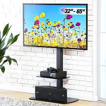 FITUEYES Soporte Giratorio de TV de 32 a 65 Pulgadas con 2 Estantes Soporte de Suelo para Televisión LCD LED OLED Plasma Plano Curvo: Amazon.es: Electrónica