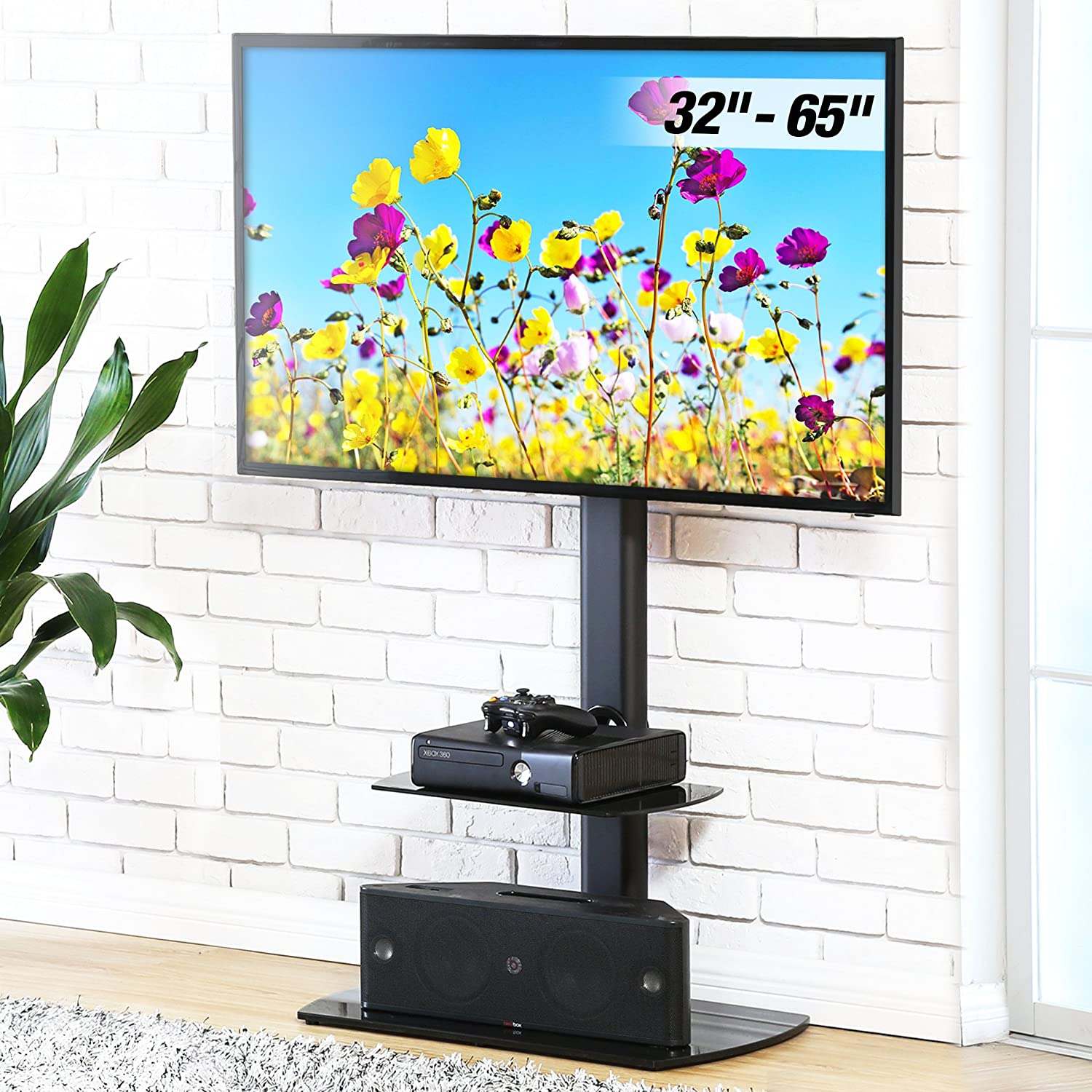 FITUEYES Cantilever TV Stand with Swivel Mount Glass Shelf for 32 to 65 inch LCD LED TV TT206502GB
