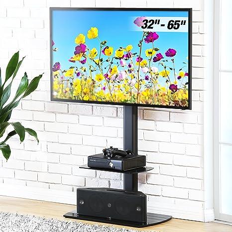 FITUEYES Giratorio Soporte de Suelo con 2 Estantes para TV LCD LED OLED Plasma Plano Curvo