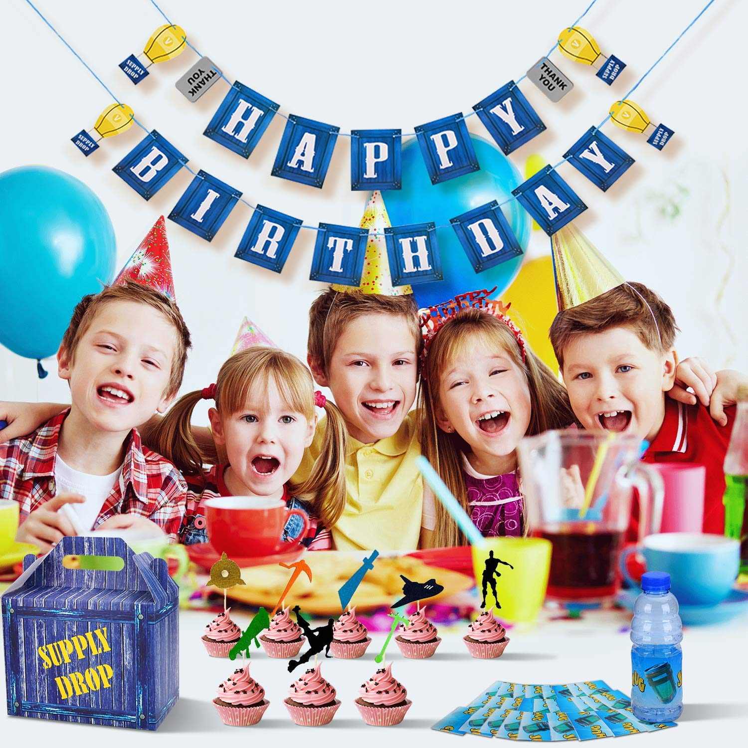 Birthday Party Supplies Set for Game Themed-Including 24 Chug Jug Bottle Labels,24 Game Party Drop Box,24 Cupcake Toppers(24 Styles),1 Birthday Party Banner by Esjay (Image #6)