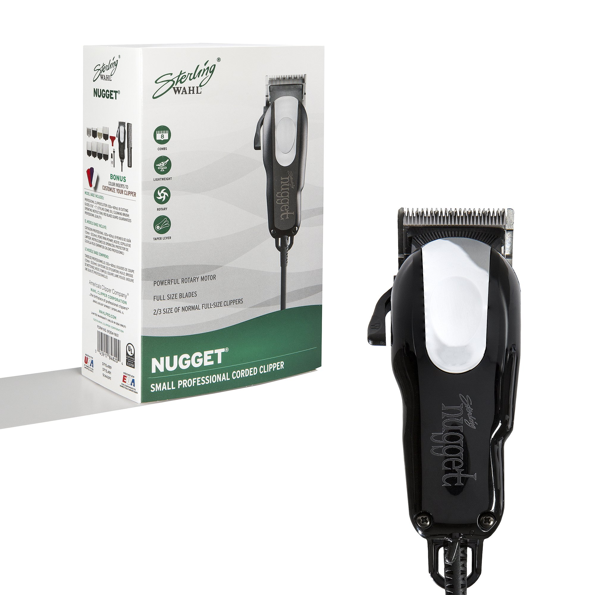 Wahl Professional Sterling Nugget Clipper #8482 – Great for Professional Stylists and Barber – Rotary Motor