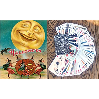FlonzGift Halloween Playing Cards (Poker Deck 55 Cards All Different) Vintage Halloween Cards Reprint: Sports & Outdoors