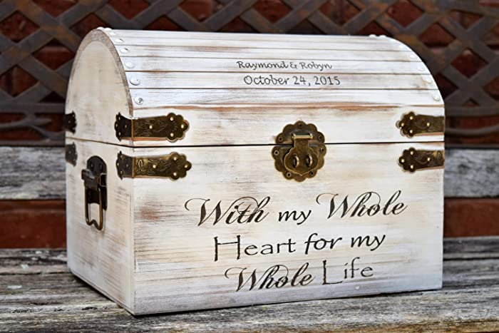 Amazon.com: Distressed Wedding Card Box - Keepsake Chest - Card Box ...