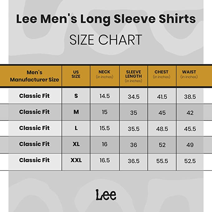 Regular Big /& Tall Stretch Cotton LEE Men/'s Stretch Long Sleeve Brady Shirt