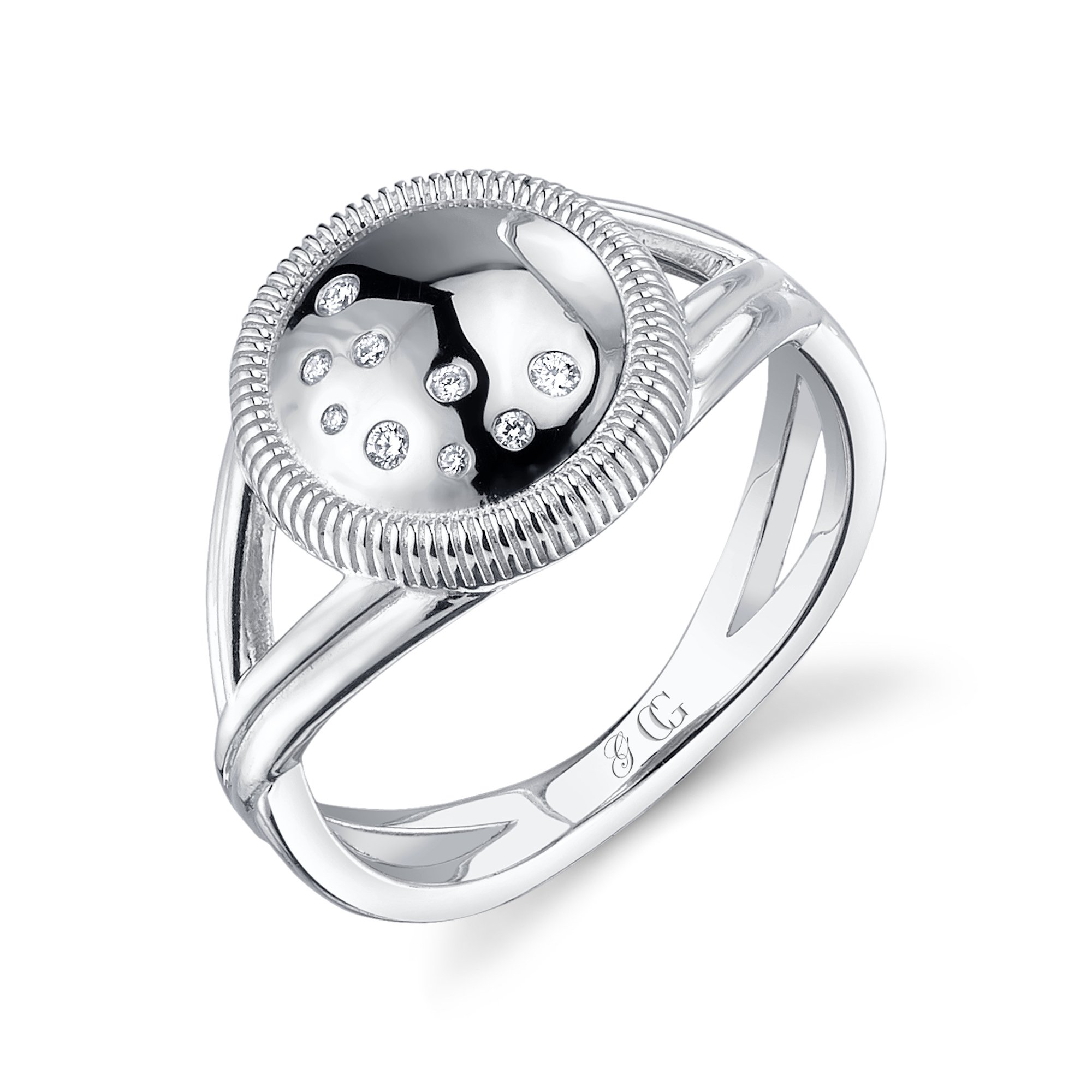 CHARLIZE GADBOIS Sterling Silver Diamond Disk Ring Rhodium Plated (0.055 cttw,I2-I3 Clarity) Size 8