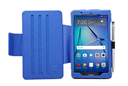 official photos 77df3 bb6b7 i-UniK Huawei MediaPad T3 7 Compatible Slim Folio Kickstand Tablet Case  [Bonus Stylus] (Blue)