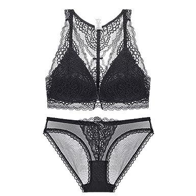 9e3065b4db MEILIDONGREN New Bra Set Beauty Front Closure Push up Bra Lace Embroidery  Underwear Women Lingerie Black