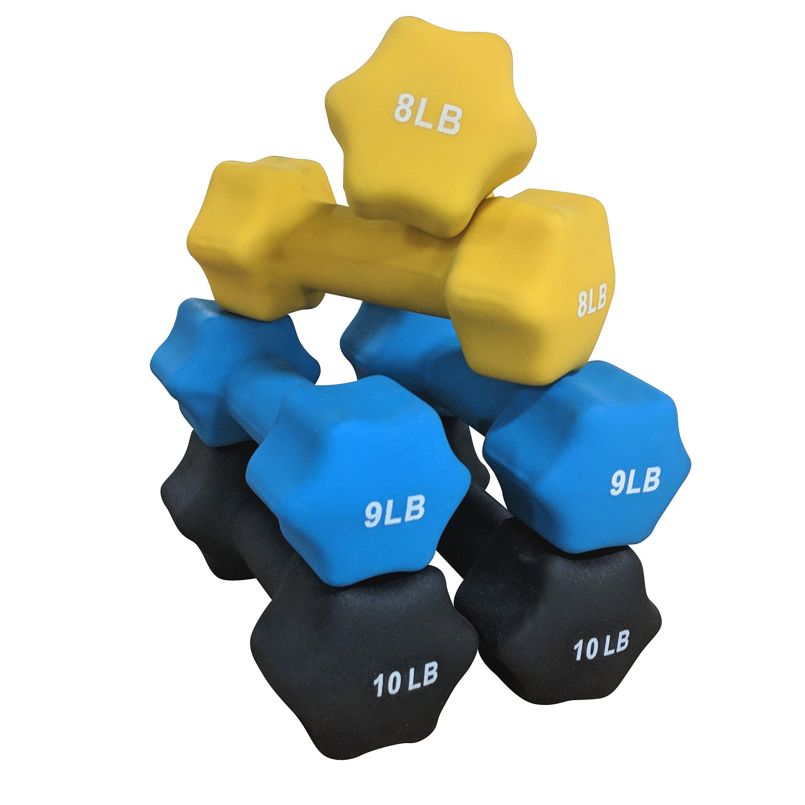 Titan Neoprene Light Weight Dumbbell Set - 8, 9, 10 LB