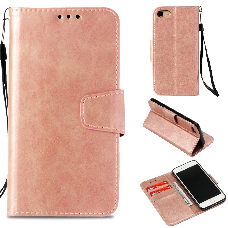 BoxTii Coque iPhone 7 / iPhone 8, Etui Portefeuille, Anti-Rayures Coque en PU Cuir avec Gratuit Protection D'écran en Verre Trempé pour Apple iPhone 7 / iPhone 8 (Or Rose) BOFR06-I7-N02