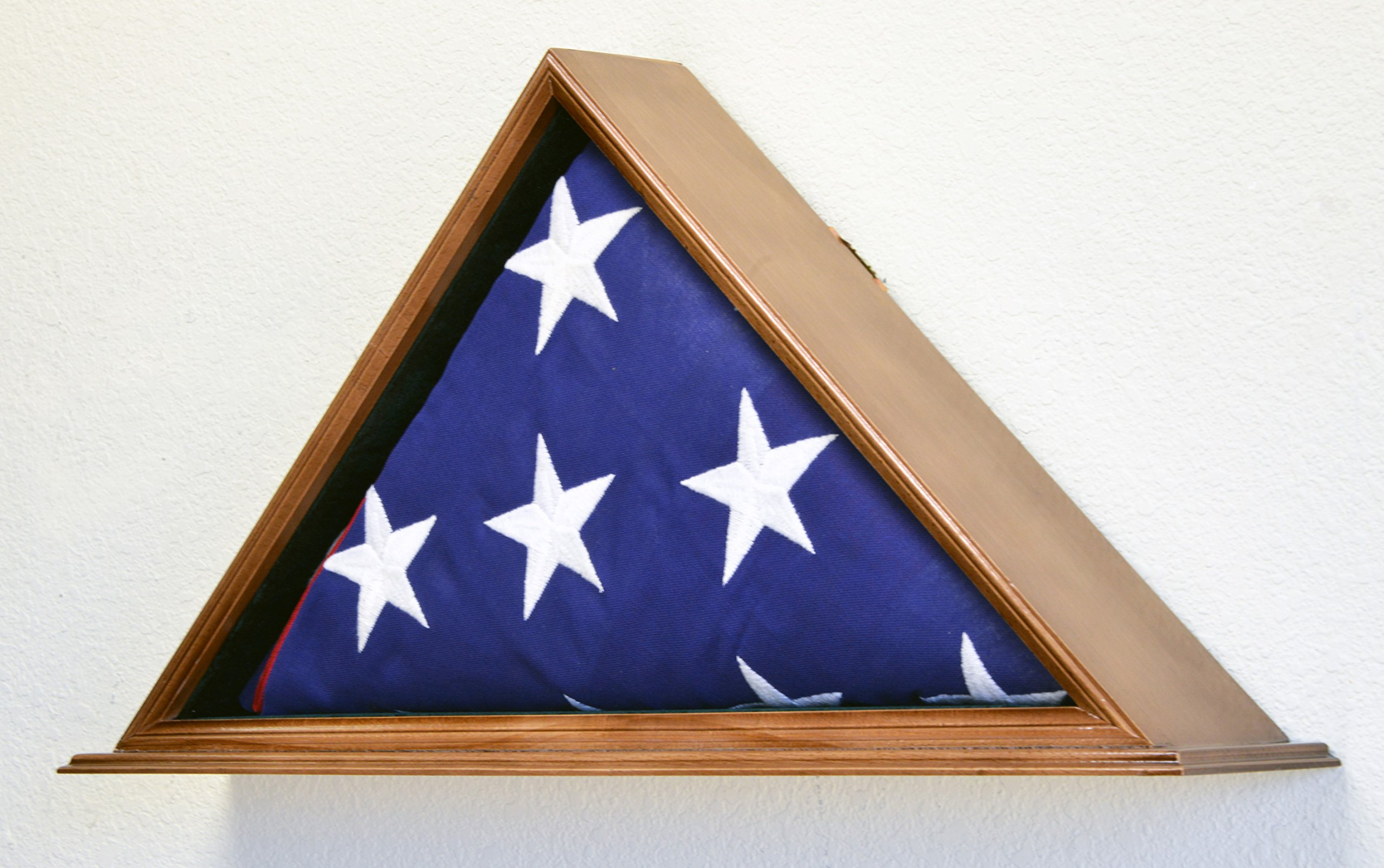 Flag Display Case for 5 x 9.5 Burial/Funeral/Casket/Veterans Military Flag Box Solid Wood USA (Walnut Finish) by sfDisplay.com,LLC. (Image #1)