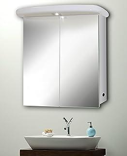 slimline bathroom mirror cabinet 65cmh x 60cmw with shaver lamp