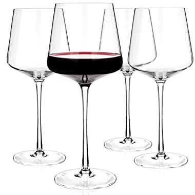Luxbe - Crystal Wine Glasses 20.5-ounce, Set of 4 - Red or White Wine Large Glasses - 100% Lead Free Glass - Pinot Noir - Burgundy - Bordeaux - 600ml