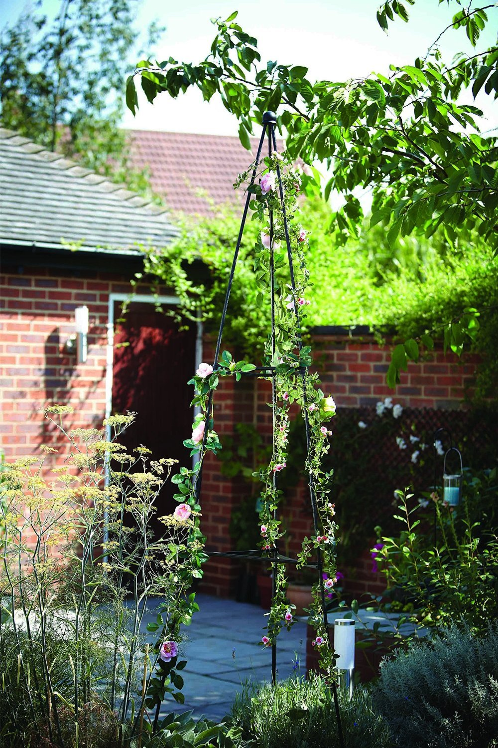 forestfox 2m Tripod Plant Support. Weatherproof Plastic Coated steel. Green. Dome Finial