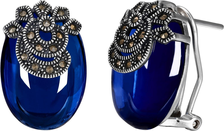 Ever Faith Plata de Ley 925 Oval Azul Granate Piedra Preciosa Cristal Retro Floral Hoja Drop Clavo Pendientes