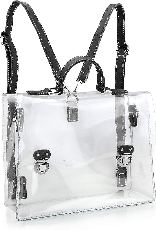 Clear Vintage Satchel Backpack Multifunction Unisex Transparent Shoulder Handbag Messenger Cross Body Bag Stadium Approved
