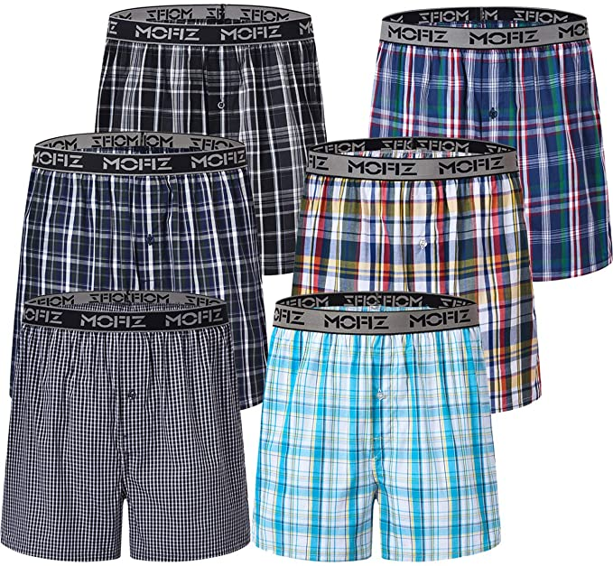 300ad48898b8 JINSHI Men's 6-Pack Cotton Boxers Woven Knit Boxers Shorts Button Fly  Boxershorts Loose Fit