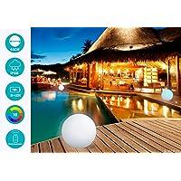MERVY Boule Led Sphère décorative Lumineuse Multicolore + Télécommande/Interieur - Extérieur/Chargeur Sans Fil Induction (40 cm)