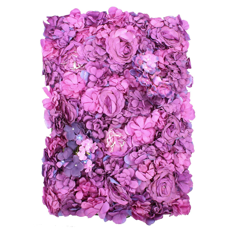 60 x 20 cm Pilar de Flores decoraci/ón de Bodas decoraci/ón de Fiestas Weddecor Panel de Pared Artificial de Flores Artificiales con Rosas de Terciopelo Rosa para Gotas traseras