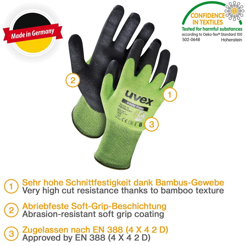 Guantes de seguridad resistentes a cortes con revestimiento de agarre Guantes de protecci/ón de espuma Uvex D500