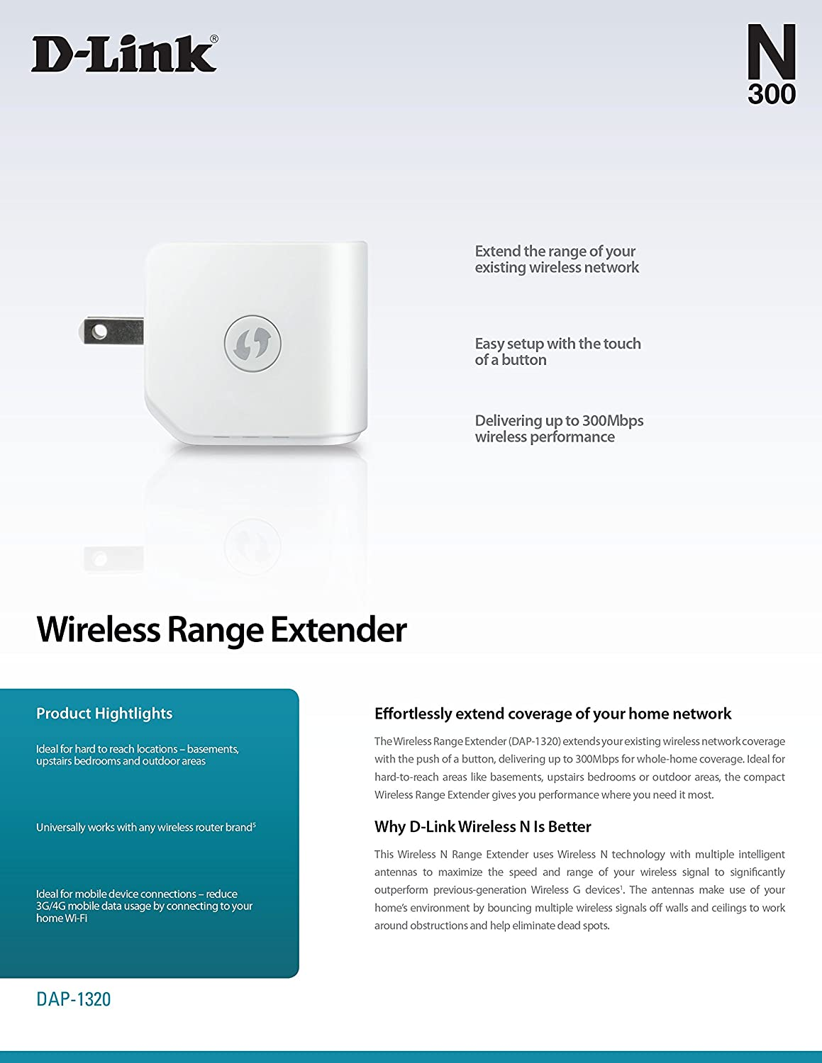 amazon com d link wireless n 300 mbps compact wi fi range