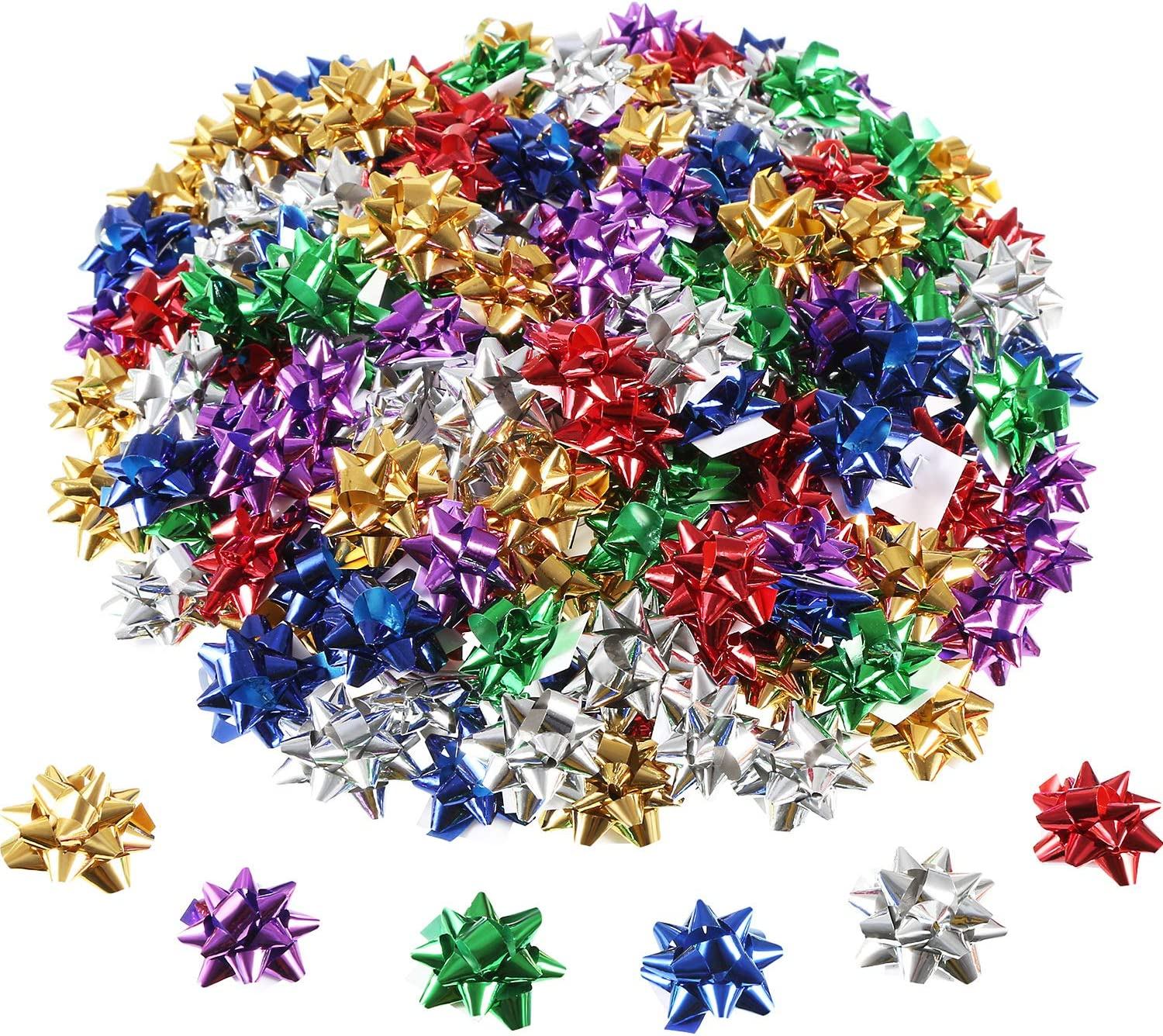 1Inch Mini Holiday Bows 6 Colors 120 Count Iconikal Christmas Birthday Gift Wrap
